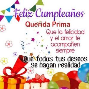 Cumpleaños Feliz A ti Prima Encantadora