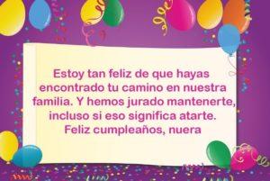 Cumpleaños feliz a ti nuera adorada