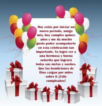 Los Mejores deseos de Feliz 15 Años Amiga Querida