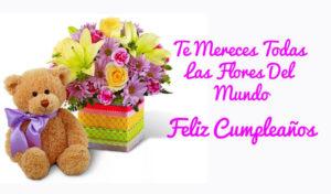 feliz cumpleaños te mereces todas las flores del mundo